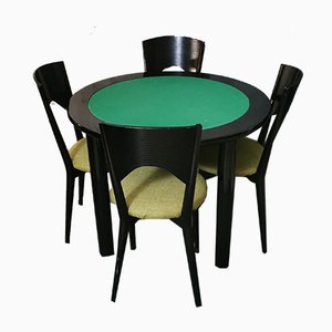 Vintage Black Enameled Wood & Green Fabric Dining Chairs and Table, 1980s, Set of 5
