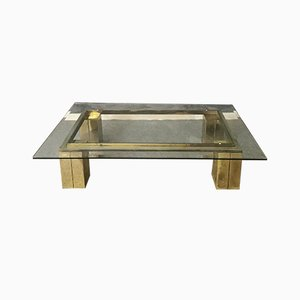 Mid-Century Italian Gilt Metal and Glass Top Coffee Table, 1970s