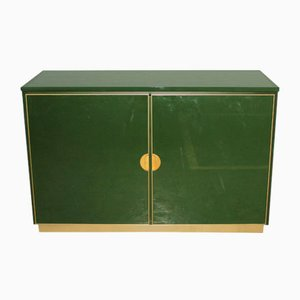 Italian Emerald Green and Brass Cabinet, 1970s