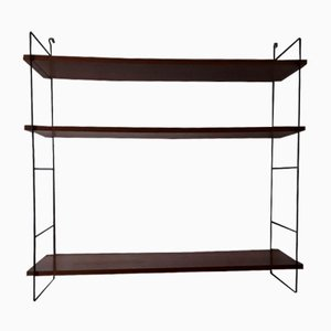 Shelf in Black Lacquered Iron Frame with 3 Adjustable Shelves in Teak Veneered Chipboard, 1960s