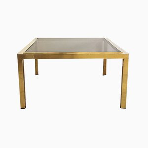 Brass and Smoked Glass Coffee Table Attributed to Willy Rizzo, 1960s