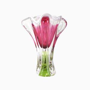 Vaso boemo in vetro rosa di Josef M. Hospodka per Sklarny Chribska, anni '60