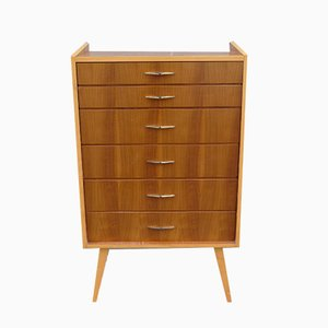 Mid-Century Chest of Drawers in Walnut and Maple with Brass Handles, 1950s