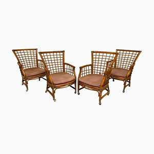 Vintage Rattan and Brass Dining Chairs, Set of 4