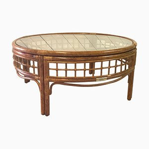 Mid-Century Rattan Round Coffee Table