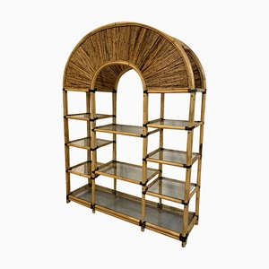 Vintage Rattan Etagere Bookshelf in the Style of Crespi
