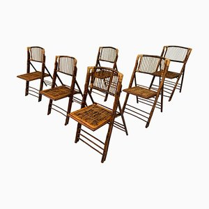 Vintage British Colonial Style Bamboo Tiger Wood Safari Folding Chairs, Set of 6