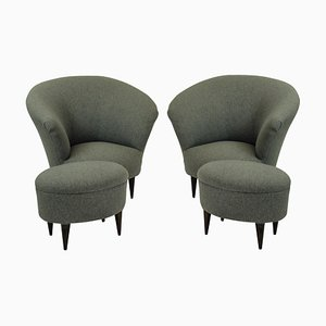 Mid-Century Armchair and Footstool Set by Ico Luisa Parisi, 1950s, Set of 2