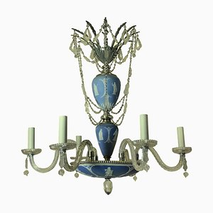Antique Silver-Plated Metal and Cut Glass Chandelier from Wedgwood