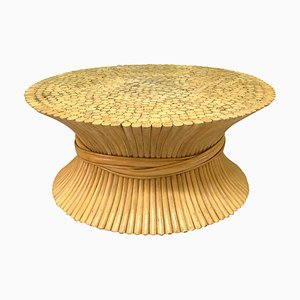 Vintage Sheaf of Wheat Rattan Coffee Table from McGuire