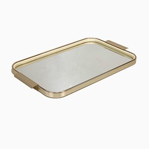 Italian Serving Tray in Gilt Aluminium, Top Mirror & Rubber by Carlo Scarpa, 1960s