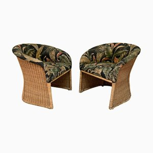 Vintage Sculptural Wicker Club Tropical Chairs, Set of 2