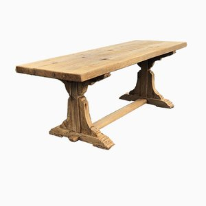 Antique French Rustic Chunky Oak Farmhouse Refectory Trestle Support Dining Table