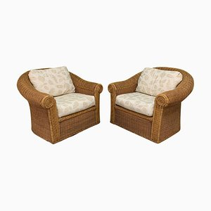 Vintage Wicker Club Chairs in the Style of Michael Taylor, Set of 2