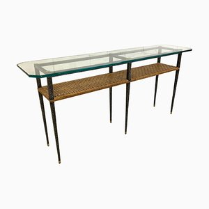 Vintage Steel and Rattan Console Table