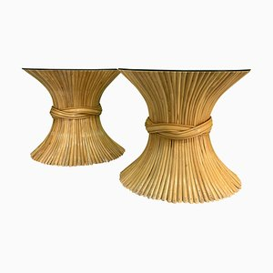 Vintage Sheaf of Wheat End Tables from McGuire, Set of 2