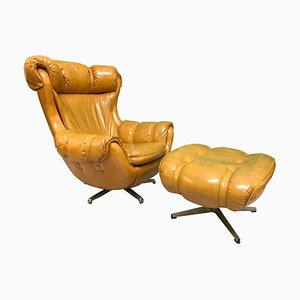 Vintage Scoop Lounge Chair and Ottoman by Carter, Set of 2