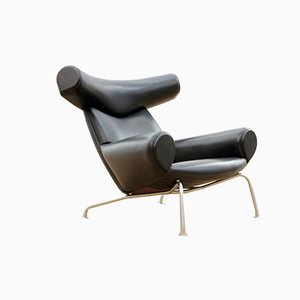 Scandinavian Black Model Ox Lounge Chair, 1960s