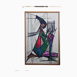 Mid-Century Tapestry Wall Art Harp Player, 1970s