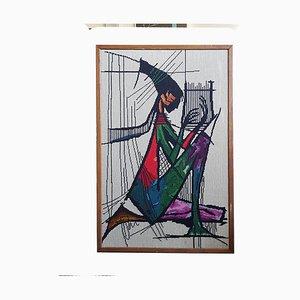 Mid-Century Wandteppich Harp Player aus Teak, 1970er