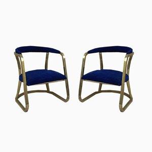Französische Mid-Century Gold Messing Sessel mit Blauem Samtbezug, 1940er, 2er Set