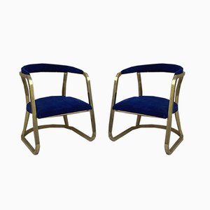 Mid-Century French Gold Brass Armchairs with Blue Velvet Upholstery, 1940s, Set of 2