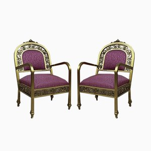 French Gold Brass & Bronze Armchairs with Red Upholstery, 1940s, Set of 2