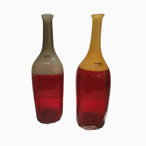 Bottle Vases by Alfredo Barbini for Barbini Murano, 1970s, Set of 2
