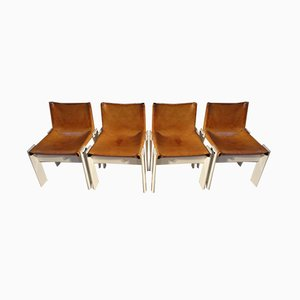 Leather Monk Dining Chairs by Tobia & Afra Scarpa for Molteni, 1974, Set of 4