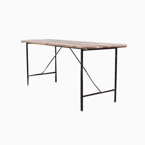 Mid-Century Italian Industrial Iron and Wood Folding Table, 1960s