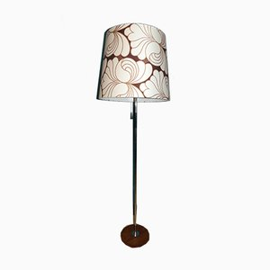 Mid-Century Floor Lamp with Brown Floral Shade from Gebr. Leclaire & Schäfer, 1960s