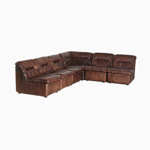 Vintage Leather Modular Sofa Set, 1970s, Set of 6