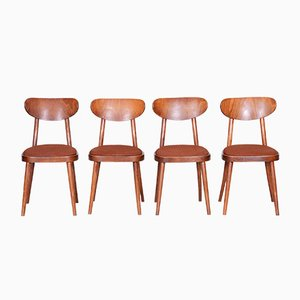 Mid-Century Czech Brown Beech Dining Chairs, 1940s, Set of 4