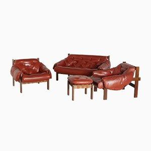Cognac Senator Sofa Set, 1970s, Set of 4