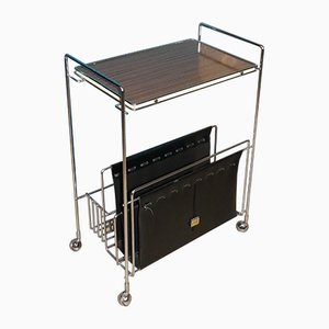Resopal Wood & Chrome-Plated Metal Trolley with Black Newspaper Stand from VOSS, 1960s