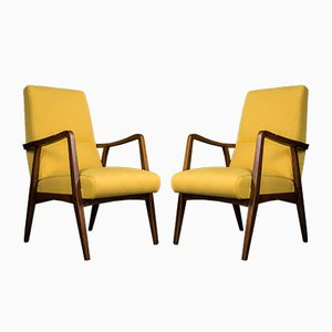 Mid-Century Czech Armchairs in Beech and Yellow Natural Fabric, 1960s, Set of 2
