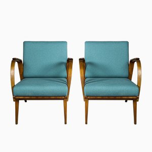 Mid-Century Czech Armchairs in Beech and Light Blue Fabric, 1950s, Set of 2