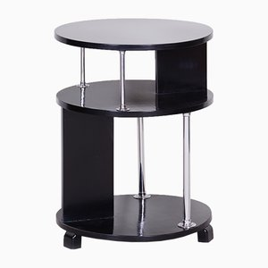 Small Czech Bauhaus Black, Chrome & Beech Round Side Table, 1930s