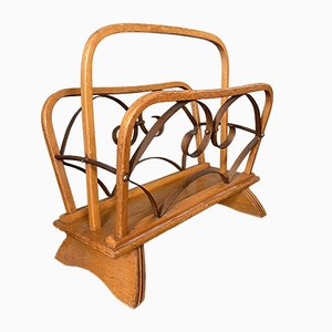 Vintage Wood and Brass Magazine Rack, 1930s