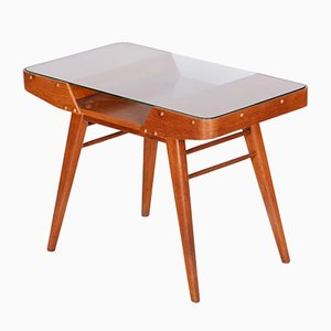 Small Mid-Century Czech Oak & Glass Coffee Table by František Jirák for Tatra, 1950s