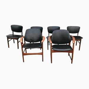 King & Queen Dining Chairs in Teak by Arne Hovmand-Olsen for Jutex, 1950s, Set of 6