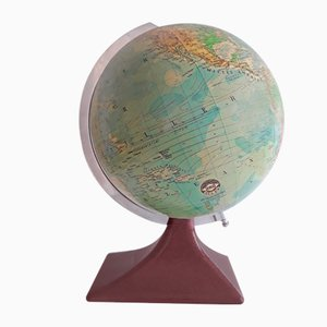 German Art Deco Brown Lacquered Aluminium Globe from JRO-Verlag, 1930s