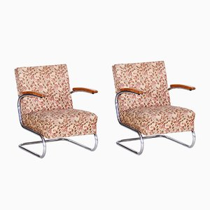 Bauhaus Tubular Chrome & Fabric Armchairs from Mücke Melder, 1930s, Set of 2