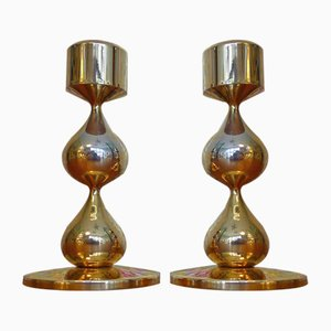 Danish Gilded Drop Candleholders by Hugo Asmussen, 1988, Set of 2