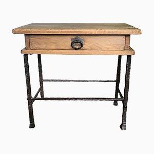 Table d'Appoint Mid-Century en Fer Forgé et Chêne par Handmade Industrials pour Gilbert Poillerat, 1950s