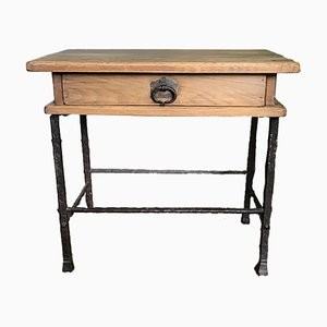 Mid-Century Wrought Iron and Oak Side Table by Handmade Industrials for Gilbert Poillerat, 1950s