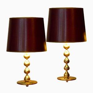 Dänische Vergoldete Drop Tischlampen von Hugo Asmussen, 1970er, 2er Set