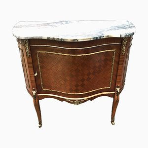 French Rosewood & Marble Top Buffet Cabinet with Gilded Bronze and Parquetry, 1940s