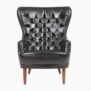 MId-Century Wingback Chair in Patinated Leather, Denmark, 1950s