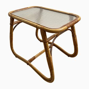 Vintage Rattan and Glass Side Table from Rohé Noordwolde, 1950s